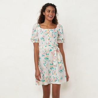 Lauren Conrad Women's Button-Front Puff-Sleeve Shift Dress