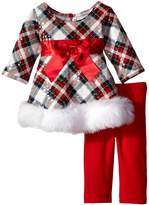 Bonnie Baby Baby-girls Spangled Plaid Santa Playwear Set
