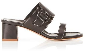 Marion Parke Bree Black | Leather Block Heel Sandal With Buckle Detail