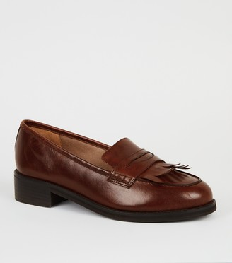 New Look Wide Fit Leather Fringe Loafers