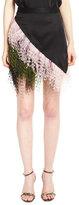 Christopher Kane Asymmetric Feather-Trim Mini Skirt, Black