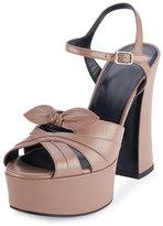 Saint Laurent Candy Leather Platform Sandal, Fard