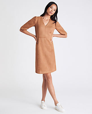 Ann Taylor Faux Suede Puff Sleeve Flare Dress