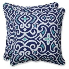 "Pillow Perfect New Damask Marine 18.5"" Throw Pillow, Set of 2"