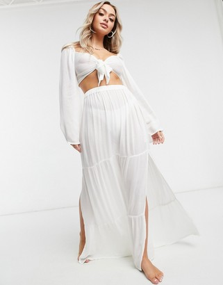 ASOS DESIGN tiered maxi beach skirt co-ord in white