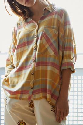 Urban Outfitters Brendan Yellow Drapey Button-Down Shirt