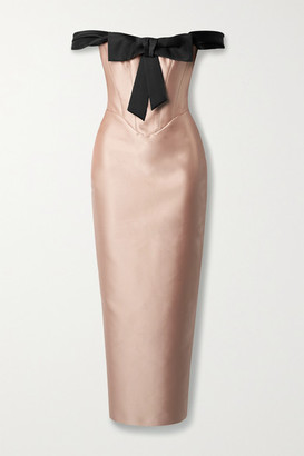 Rasario Off-the-shoulder Bow-embellished Duchesse-satin Dress - Blush