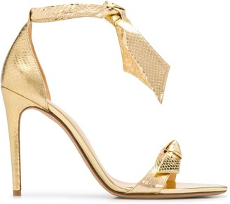 Alexandre Birman Metallic Tie Strap Sandals