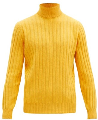 Brunello Cucinelli Roll-neck Rib-knitted Wool-blend Sweater - Yellow
