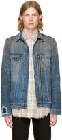 R 13 Indigo Denim Zippered Trucker Jacket