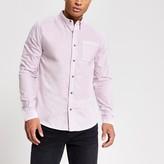 Mens River Island Purple garment dyed regular fit shirt