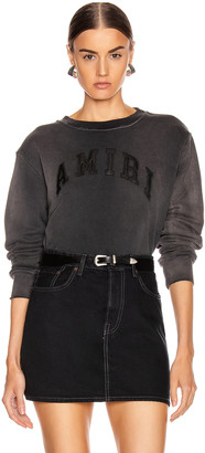 Amiri College Tonal Crewneck Sweatshirt in Washed Black | FWRD