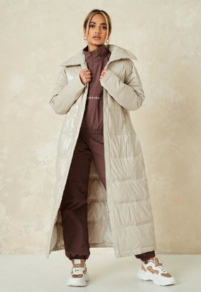 Missguided Cream Quilted Puffer