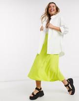 Monki Brisa satin midi skirt in lime green
