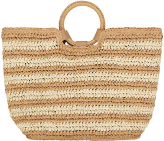 Seafolly Bicolor Stripe Straw Beach Tote Bag