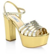 Prada Two-Tone Metallic Leather Platform Sandals