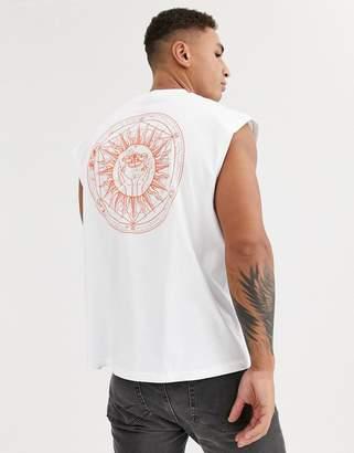 Asos Design DESIGN oversized sleeveless t-shirt with back sun print-White