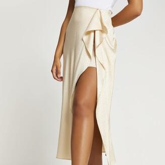 River Island Womens Beige animal print front slip skirt