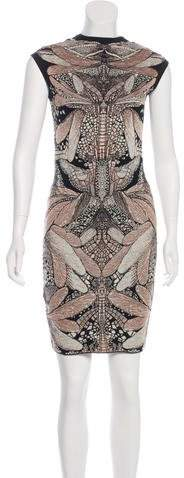 Alexander McQueen Wool-Blend Patterned Dress