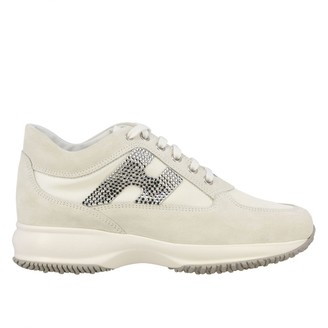 Hogan Sneakers Interactive Sneakers In Suede And Canvas With H Of Rhinestones