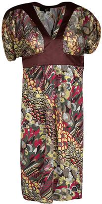 Just Cavalli Multicolor Printed Lurex Detail Short Sleeve Dress S