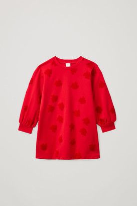 Cos Flocked Cotton Sweatshirt Dress