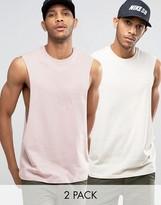 Asos Sleeveless T-Shirt With Extreme Dropped Armhole 2 Pack