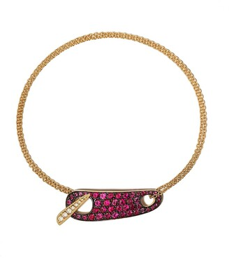 The House Of Aziz & Walid Mouzannar 18kt Yellow Gold Diamond And Ruby Bracelet