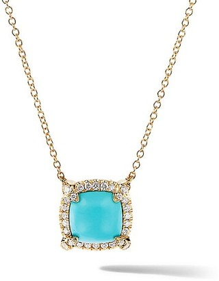 David Yurman Petite Chatelaine Pave Bezel Pendant Necklace in 18K Yellow Gold with Gemstone