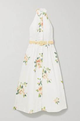 Zimmermann Kirra Linen Halterneck Midi Dress - Ivory