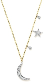 Meira T 14K White and Yellow Gold Diamond Moon and Star Pendant Necklace, 16