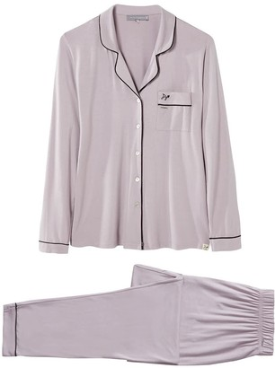 Pretty You London Bamboo Long Sleeved Trouser Pyjama Set In Oyster