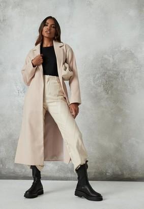 Missguided Camel Side Split Formal Midaxi Coat