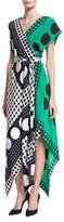Diane von Furstenberg Dot-Print Asymmetric Cap-Sleeve Scarf Dress