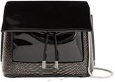 3.1 Phillip Lim Hana Patent And Snake-effect Leather Shoulder Bag - Black