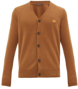 Acne Studios Keve Face-logo Applique Wool Cardigan - Brown