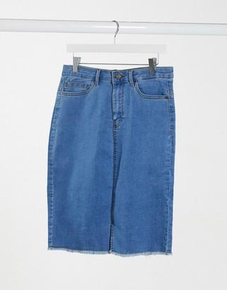 Noisy May high waisted denim skirt with raw hem in medium blue