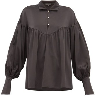 Lee Mathews Mae Balloon-sleeve Silk-satin Blouse - Black