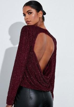 Missguided Burgundy Embellished Drape Back Top