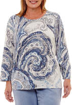 Alfred Dunner Silver Belles Paisley Pullover Sweater-Plus