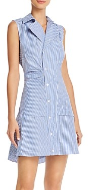 Derek Lam 10 Crosby Satina Cotton Striped Shirt Dress