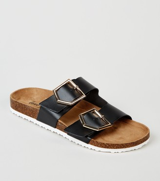 New Look Leather-Look Buckle Strap Footbed Sliders