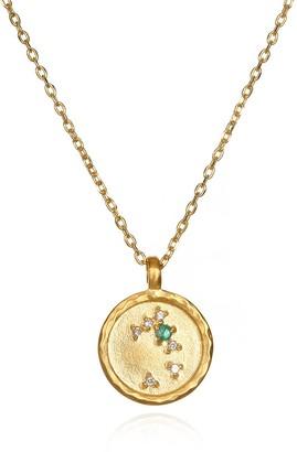 Satya Jewelry Taurus Constellation Emerald White Topaz Zodiac Necklace (18-inch)