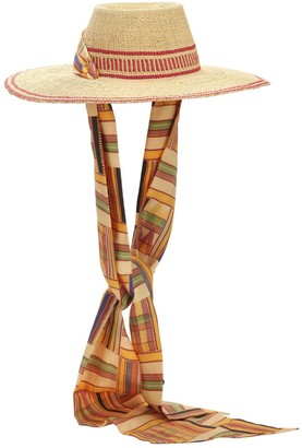 Margherita X Cambiaghi X Oafrica OAFRICA BRIMMED STRAW HAT W/ LONG SCARF