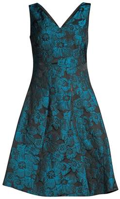 Donna Karan Floral Jacquard Fit-&-Flare Dress