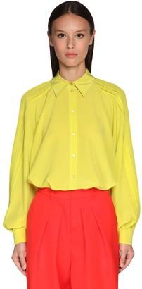 Rochas Pleated Silk Crepe Shirt