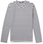 Junya Watanabe Grosgrain-Trimmed Striped Cotton-Jersey T-Shirt