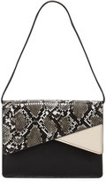 French Connection Remy Snake-Embossed Clutch Bag, Black/White