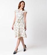 Collectif 1940s Style Cream & Vintage Swallow Tamara Swing Dress