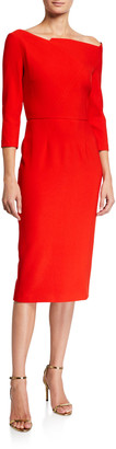 Roland Mouret Witham Geometric Wide-Neck Dress